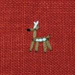鹿の刺繍が可愛らしい♪ 鹿の家族リネンポーチ☆