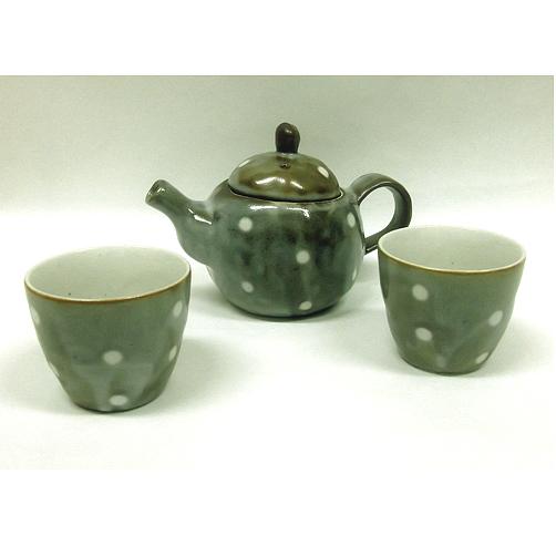 ドット柄のポット&煎茶×2のセット