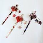 透明感のある華やかな桜柄のかんざし☆