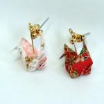 色鮮やかな千代紙で折られた折鶴ピアス☆