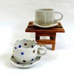 手描きのデザインが可愛らしい美濃焼のコーヒー碗皿☆