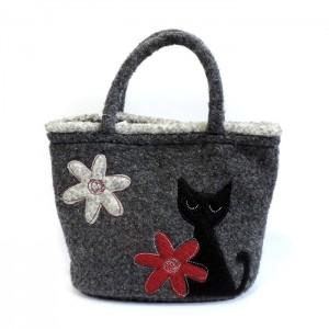 秋冬素材の黒猫ミニトートバッグ★
